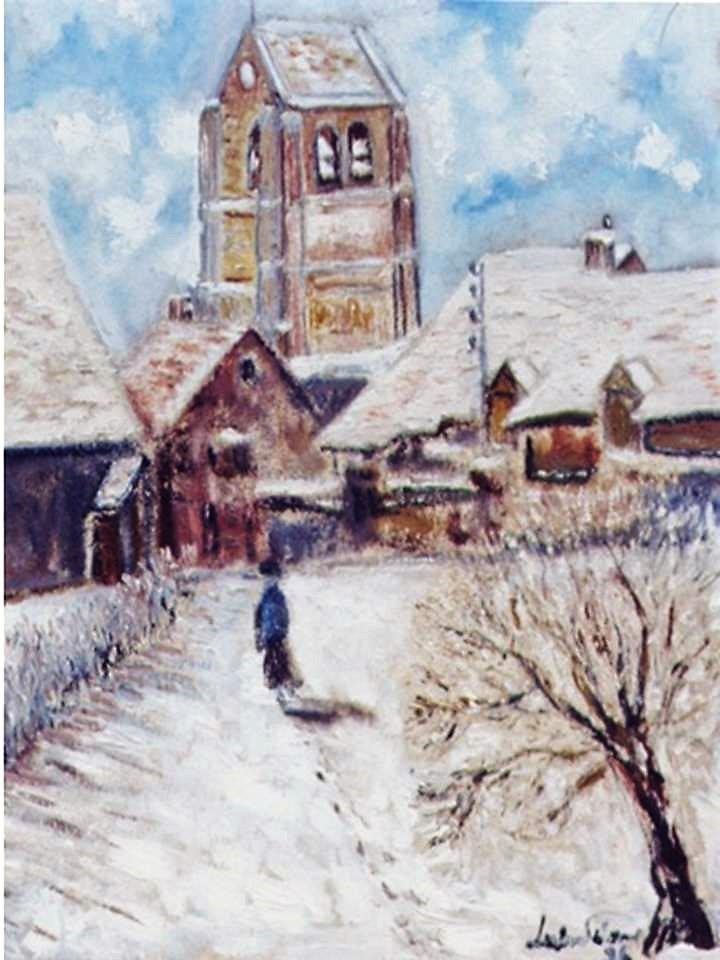 """""""Église Granges sous la neige"""" Louis Delorme"""