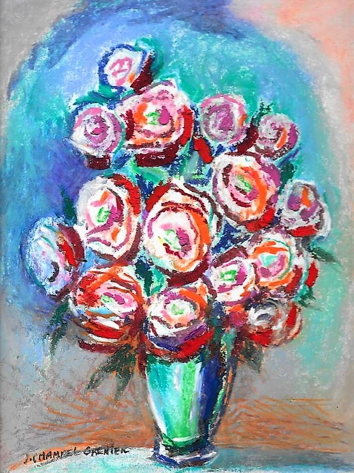 """Bouquet Roses Vase turquoise"""