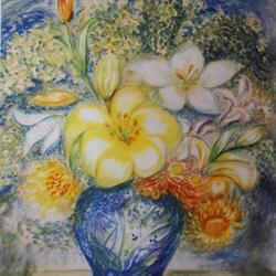 """""""Lys blancs vase bleu"""""""