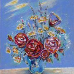 """Roses Vase opaline"""